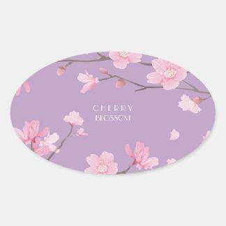 Cherry Blossom - Transparent-Background Oval Sticker