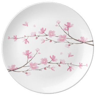 Cherry Blossom - Transparent Background Porcelain Plate