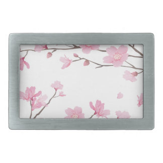 Cherry Blossom - Transparent-Background Rectangular Belt Buckle