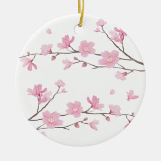 Cherry Blossom - Transparent-Background Round Ceramic Ornament