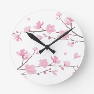 Cherry Blossom - Transparent-Background Round Clock