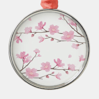 Cherry Blossom - Transparent-Background Silver-Colored Round Ornament