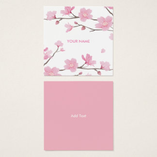 Cherry Blossom - Transparent Background Square Business Card