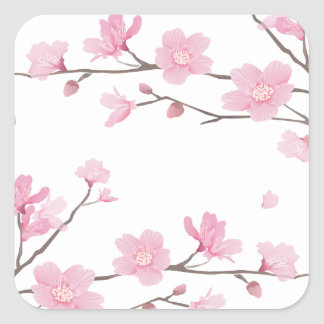 Cherry Blossom - Transparent-Background Square Sticker