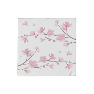 Cherry Blossom - Transparent Background Stone Magnets