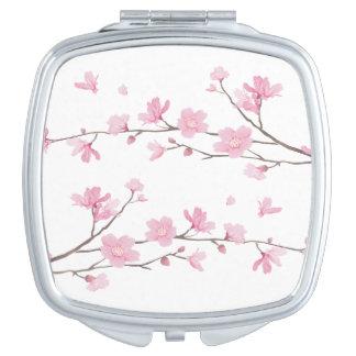 Cherry Blossom - Transparent Background Travel Mirror