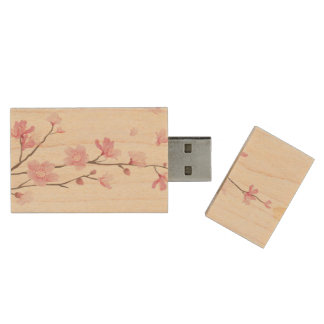 Cherry Blossom - Transparent Background Wood USB Flash Drive