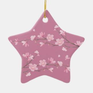 Cherry Blossom - Transparent - HAPPY BIRTHDAY Ceramic Ornament