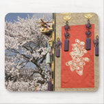 Cherry blossom tree and silk tapestry of mouse pad