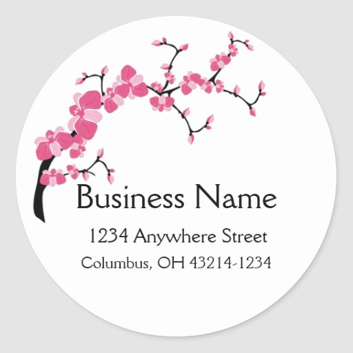 Cherry Blossom Tree Branch Round Address Labels Stickers