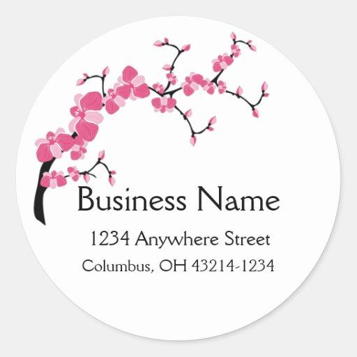 Cherry Blossom Tree Branch Round Address Labels Stickers