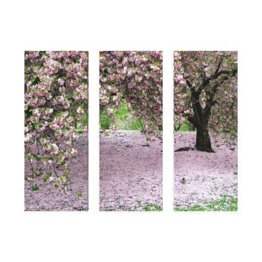 cherry blossom tree three panel wrapped canvas