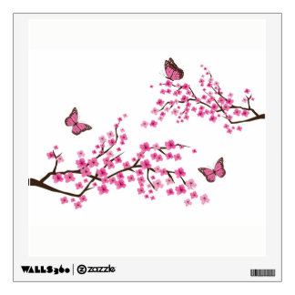 Cherry Blossom Tree with Butterflies Wall Decals