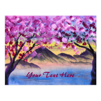 Cherry Blossom Trees Lake Dusk Mountains Landscape Postcard