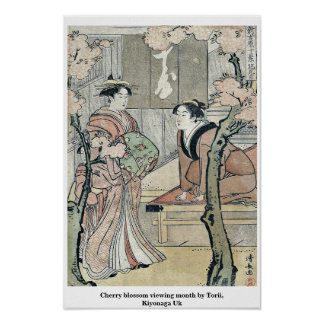 Cherry blossom viewing month by Torii, Kiyonaga Uk Poster