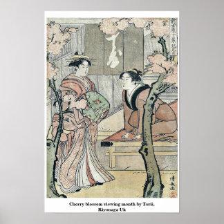 Cherry blossom viewing month by Torii, Kiyonaga Uk Poster