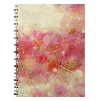 cherry blossom vintage romance abstract-off white spiral note book