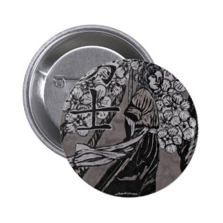 Cherry Blossom Warrior by Carter L Shepard 2 Inch Round Button