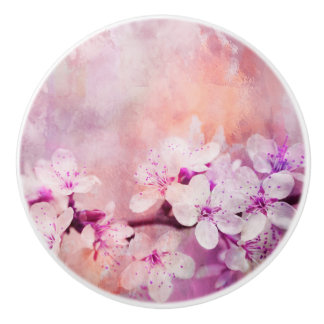 Cherry Blossom Watercolor Art Ceramic Knob