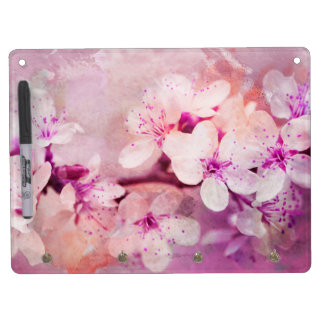 Cherry Blossom Watercolor Art Dry Erase Board With Keychain Holder