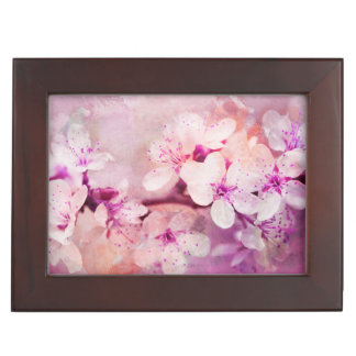 Cherry Blossom Watercolor Art Keepsake Box