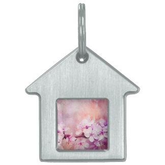 Cherry Blossom Watercolor Art Pet ID Tag