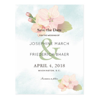 Cherry Blossom Watercolor Save the Date Postcard