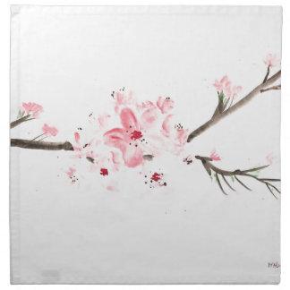 Cherry blossom watercolour napkin