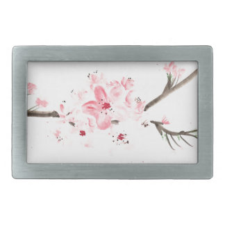 Cherry blossom watercolour rectangular belt buckle