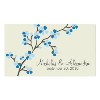 Cherry Blossom Wedding Business Card (blue)