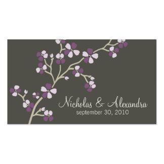 Cherry Blossom Wedding Business Card dark (plum)