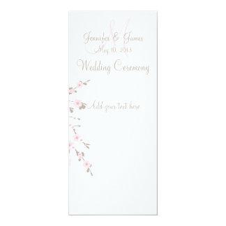 "Cherry Blossom Wedding Church Program Cards 4"" X 9.25"" Invitation Card"