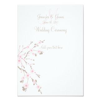 "Cherry Blossom Wedding Church Programs 4.5"" X 6.25"" Invitation Card"