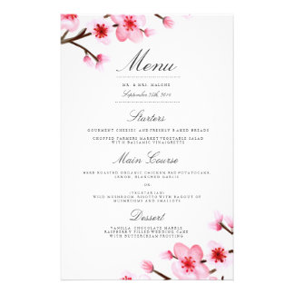 Cherry Blossom Wedding Dinner Menu Flyers