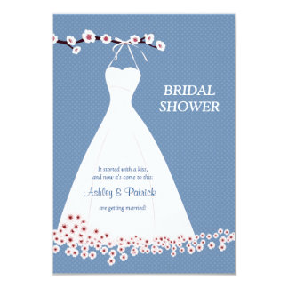 "Cherry Blossom  & Wedding Dress on Polka Backgroun 3.5"" X 5"" Invitation Card"