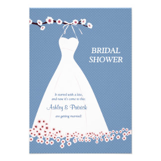 Cherry Blossom  & Wedding Dress on Polka Backgroun Custom Invite
