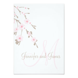 Cherry Blossom Wedding Invitation Monogram Back