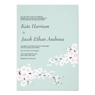 """Cherry Blossom Wedding Invite // Seafoam 5"""" X 7"""" Invitation Card"""