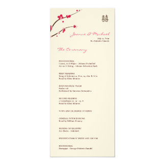 "Cherry blossom wedding program matte 4"" x 9.25"" invitation card"