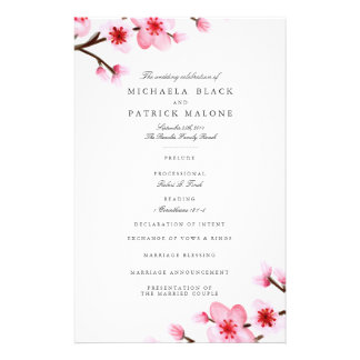 Cherry Blossom Wedding Programs