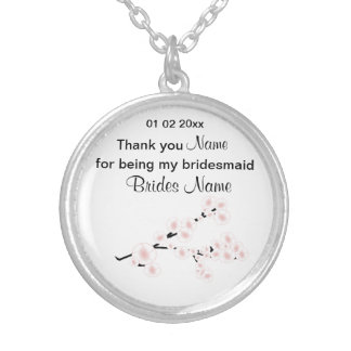 Cherry Blossom Wedding Souvenirs Gifts Giveaways Silver Plated Necklace