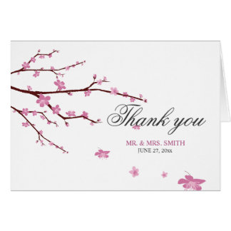 Cherry Blossom Wedding Thank You Note Card