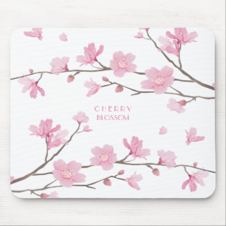 Cherry Blossom - White Background Mouse Pad