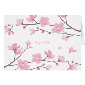 Cherry Blossom - White Background - THANK YOU Card