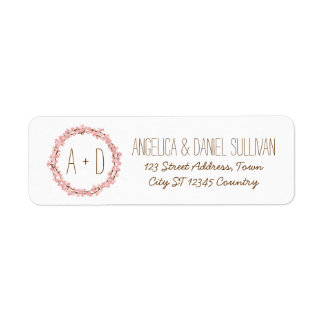 Cherry Blossom Wreath Boho Rustic Wedding Return Address Label