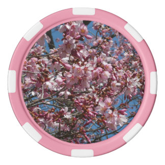 Cherry Blossoms and Blue Sky Spring Floral Poker Chip Set