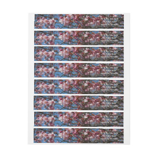 Cherry Blossoms and Blue Sky Spring Floral Wrap Around Label