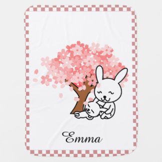 Cherry Blossoms and Bunnies Personalized Baby Blanket