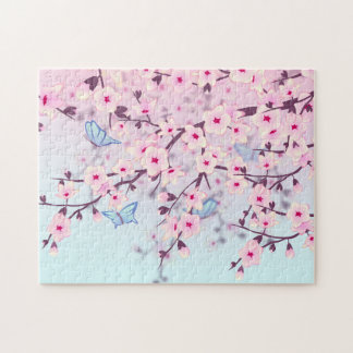 Cherry Blossoms And Butterflies Jigsaw Puzzle