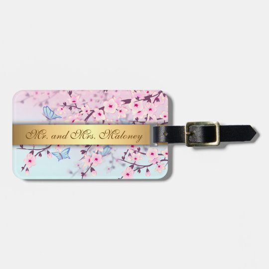 Cherry Blossoms and Butterflies Luggage Tag